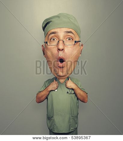 funny picture of bighead amazed doctor in uniform over grey background
