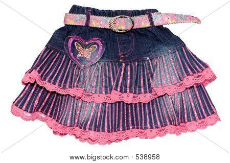Blue Pink Children Girl Jeans Mini Skirt Isolated