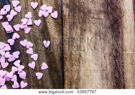 Valentines Day Background With Candy Hearts. Sugar Hearts On Wooden Vintage Textured Background Or T