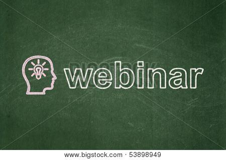 Education concept: Head With Lightbulb and Webinar on chalkboard background