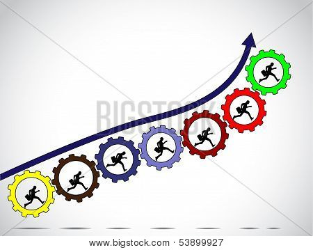 Businessmen Team Work Concept For Achiving Progress With Arrow Colorful Gears White background