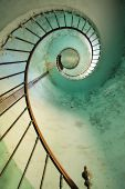 stock photo of spiral staircase  - dynamic view on old hourtin lighthouse spiral staircase france - JPG