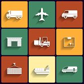 stock photo of railroad car  - Vehicle transport and logistics vector flat icons - JPG