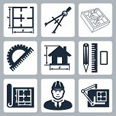 image of blueprints  - Vector building design icons set - JPG