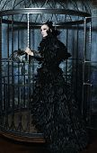 image of caged  - Fashion model in fantasy dress posing in steel cage - JPG