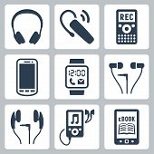 stock photo of headgear  - Vector gadgets icons set - JPG