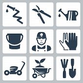 stock photo of prunes  - Vector gardening icons set - JPG