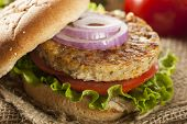 stock photo of veggie burger  - Organic Grilled Black Bean Burger with Tomato and Lettuce - JPG