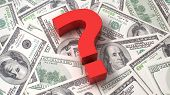 stock photo of punctuation marks  - Red question mark on the background of one hundred dollar bills - JPG