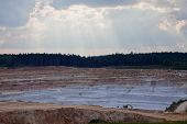 stock photo of open-pit mine  - Layers of rock at  open pit mine - JPG