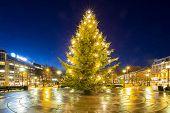 stock photo of merry chrismas  - Christmas tree light in oslo city Norway - JPG