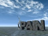 picture of pain-tree  - the word pain in stone at desert landscape  - JPG