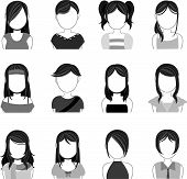 Silhouette hairstyle icon collection set 3