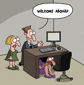 pic of gag  - Cartoon gag about a new female office staff is shy and hiding under the desk - JPG