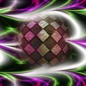 stock photo of plasmatic  - Abstract glowing plasmatic laser background with distorted checkered ball - JPG