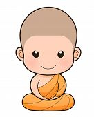 stock photo of buddhist  - Buddhist Monk cartoon illustration - JPG