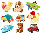 picture of playtime  - Illustration of the different toys on a white background - JPG