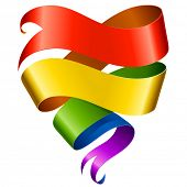 picture of gay flag  - Vector rainbow ribbon in the shape of heart isolated on white background - JPG