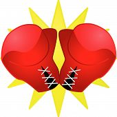pic of boxing gloves  - Glossy illustration of a pair of red boxing gloves - JPG