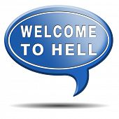 stock photo of sinner  - welcome to hell evil sinner go to the devil disaster - JPG