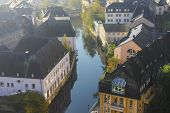 pic of gable-roof  - Early autumn morning in the Luxembourg city center  - JPG