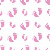 image of baby feet  - Vector illustration of a seamless pattern of baby feet in pink - JPG