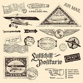 Постер, плакат: air mail stamps and other postage design elements translation: Luftschiff Postkarte airship pos