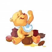 stock photo of bear cub  - teddy bear with a pot of honey - JPG