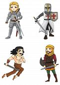 stock photo of crusader  - Warriors from various culture set 4 consists of knight Persian Crusader and Celtic warrior - JPG