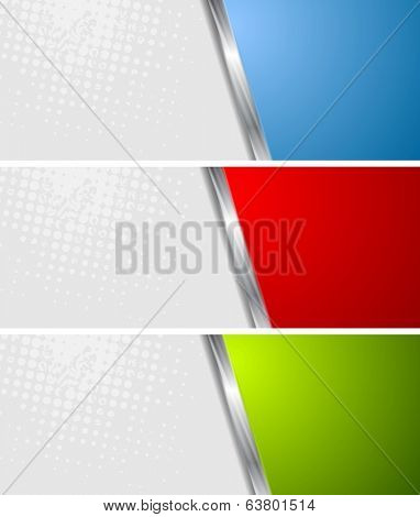 Abstract banners with metallic stripes. Vector