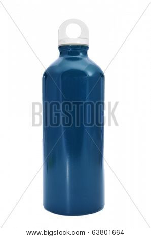a blue metal water bottle on a white background