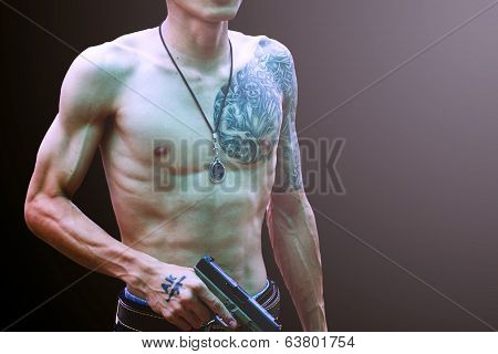 Handsome Young Man With Tattoo