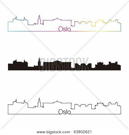 Oslo Skyline Linear Style With Rainbow