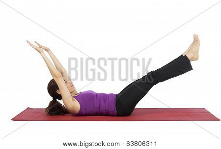 Woman Strengthening Her Abs During Fitness