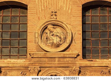 Madonna Jesus Statue Facade Church Iglesia Of Santa Anna Rio Darro Granada Andalusia Spain
