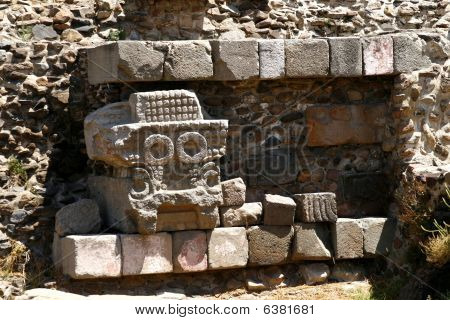 "Temple Of The Feathered Serpent"" Wall Detail In Teotihuacan, Mexico"