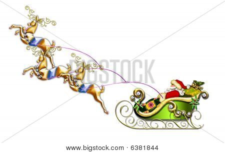Santa in his sleigh w/reindeer