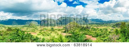 Panoramic image of the Vinales Valley in Cuba, famous for it natural beauty and its tobacco plantations