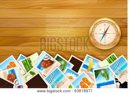 Travel photos and compass on wood background. Vector illustration.