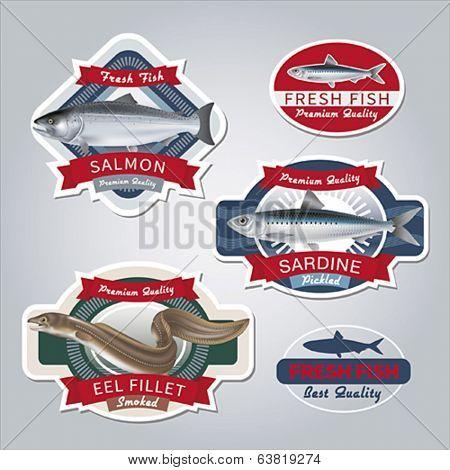 Fish labels set 3. Vector illustration.