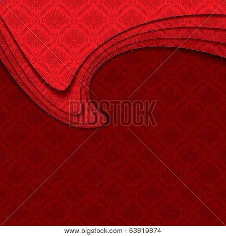 Vector abstract red background with baroque ornament