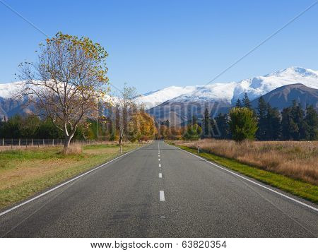 Straight road in Canterbury region, NZ