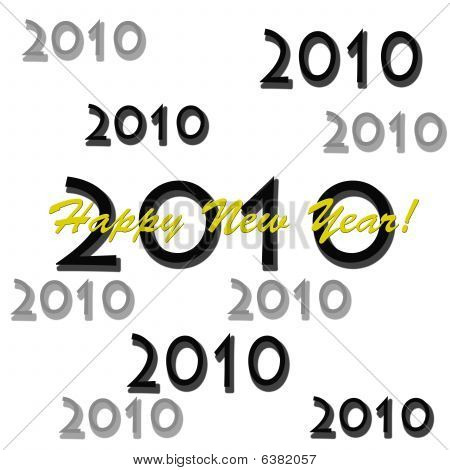 Happy New Year 2010 Black and Yellow