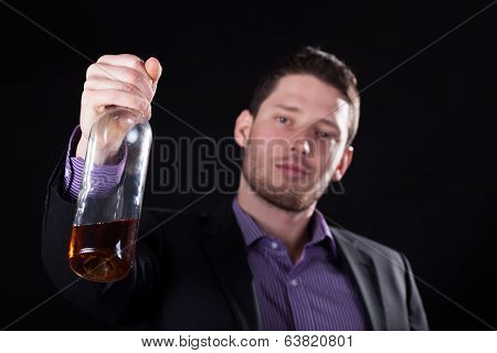 Cheers Of A Businessman With A Bottle