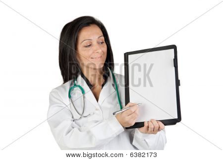 Doctor Woman With Blank Clipboard