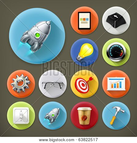 Start up, long shadow icon set