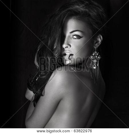 Portrait Of Beautiful Brunette Lady.