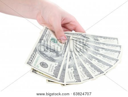 Dollars in hand isolated on white