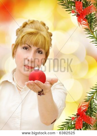 Merry Christmas! - woman with red bauble