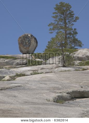 Boulder Balanced on Mountain